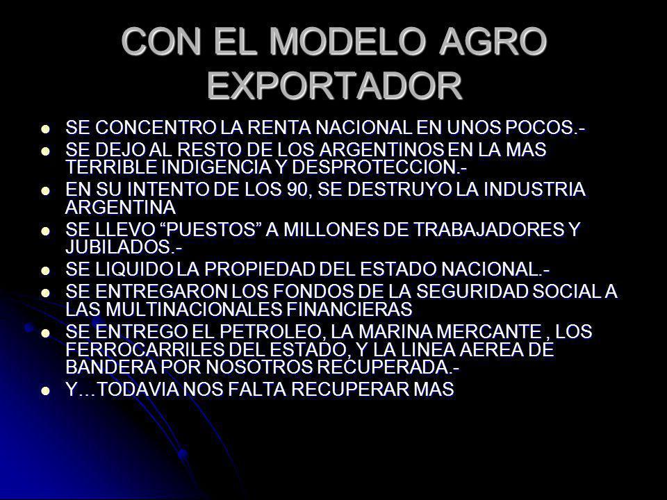 CON EL MODELO AGRO EXPORTADOR SE CONCENTRO LA RENTA NACIONAL EN UNOS POCOS.- SE CONCENTRO LA RENTA NACIONAL EN UNOS POCOS.- SE DEJO AL RESTO DE LOS ARGENTINOS EN LA MAS TERRIBLE INDIGENCIA Y DESPROTECCION.- SE DEJO AL RESTO DE LOS ARGENTINOS EN LA MAS TERRIBLE INDIGENCIA Y DESPROTECCION.- EN SU INTENTO DE LOS 90, SE DESTRUYO LA INDUSTRIA ARGENTINA EN SU INTENTO DE LOS 90, SE DESTRUYO LA INDUSTRIA ARGENTINA SE LLEVO PUESTOS A MILLONES DE TRABAJADORES Y JUBILADOS.- SE LLEVO PUESTOS A MILLONES DE TRABAJADORES Y JUBILADOS.- SE LIQUIDO LA PROPIEDAD DEL ESTADO NACIONAL.- SE LIQUIDO LA PROPIEDAD DEL ESTADO NACIONAL.- SE ENTREGARON LOS FONDOS DE LA SEGURIDAD SOCIAL A LAS MULTINACIONALES FINANCIERAS SE ENTREGARON LOS FONDOS DE LA SEGURIDAD SOCIAL A LAS MULTINACIONALES FINANCIERAS SE ENTREGO EL PETROLEO, LA MARINA MERCANTE, LOS FERROCARRILES DEL ESTADO, Y LA LINEA AEREA DE BANDERA POR NOSOTROS RECUPERADA.- SE ENTREGO EL PETROLEO, LA MARINA MERCANTE, LOS FERROCARRILES DEL ESTADO, Y LA LINEA AEREA DE BANDERA POR NOSOTROS RECUPERADA.- Y…TODAVIA NOS FALTA RECUPERAR MAS Y…TODAVIA NOS FALTA RECUPERAR MAS