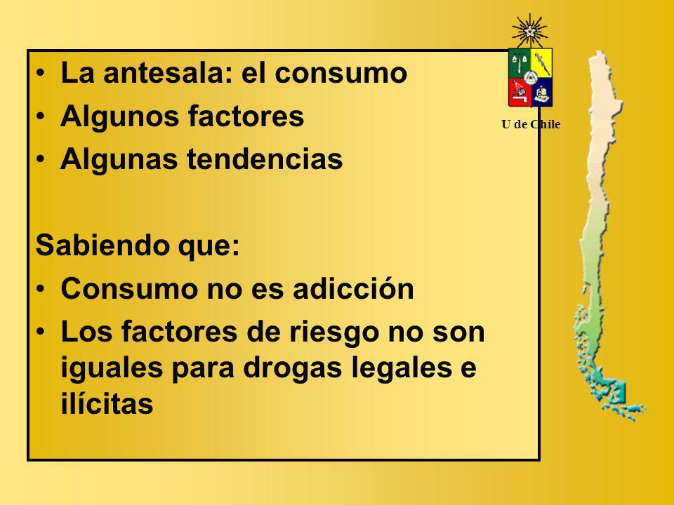 La antesala: el consumo Algunos factores Algunas tendencias Sabiendo que: Consumo no es adicción Los factores de riesgo no son iguales para drogas legales e ilícitas U de Chile