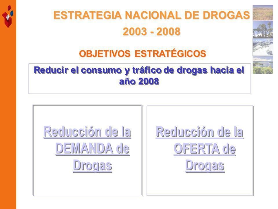 OBJETIVOS ESTRATÉGICOS Reducir el consumo y tráfico de drogas hacia el año 2008 Reducción de la DEMANDA de Drogas Reducción de la DEMANDA de Drogas Reducción de la OFERTA de Drogas Reducción de la OFERTA de Drogas ESTRATEGIA NACIONAL DE DROGAS 2003 - 2008