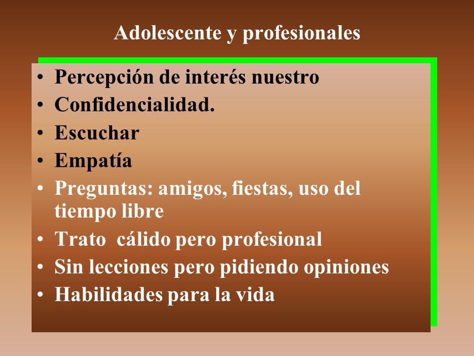 Adolescente y profesionales Percepción de interés nuestro Confidencialidad.