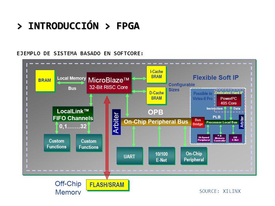 > INTRODUCCIÓN > FPGA EJEMPLO DE SISTEMA BASADO EN SOFTCORE: SOURCE: XILINX