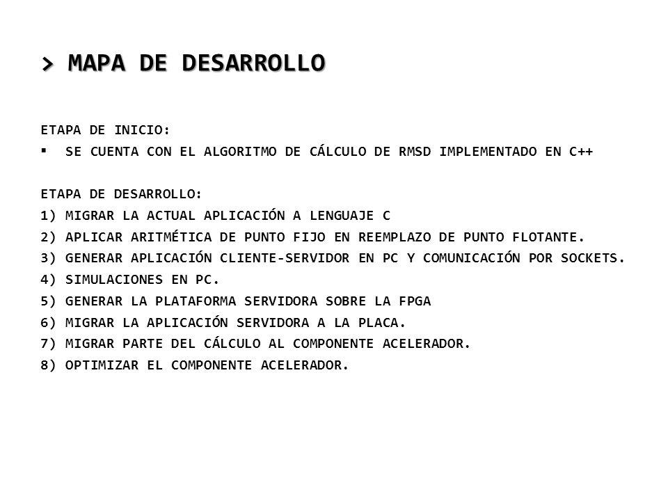 > MAPA DE DESARROLLO ETAPA DE INICIO: SE CUENTA CON EL ALGORITMO DE CÁLCULO DE RMSD IMPLEMENTADO EN C++ ETAPA DE DESARROLLO: 1)MIGRAR LA ACTUAL APLICA