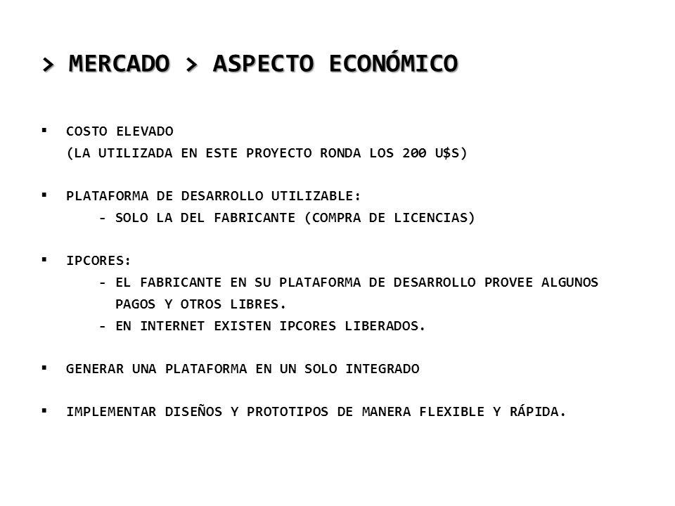 > MERCADO > ASPECTO ECONÓMICO COSTO ELEVADO (LA UTILIZADA EN ESTE PROYECTO RONDA LOS 200 U$S) PLATAFORMA DE DESARROLLO UTILIZABLE: - SOLO LA DEL FABRI