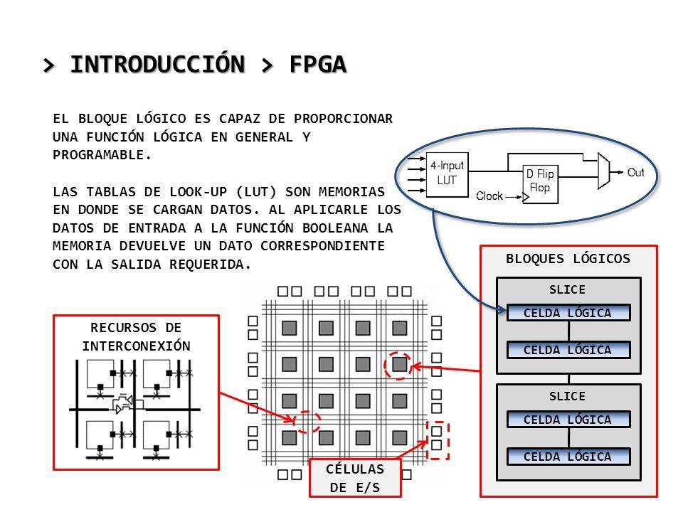 > INTRODUCCIÓN > FPGA EL BLOQUE LÓGICO ES CAPAZ DE PROPORCIONAR UNA FUNCIÓN LÓGICA EN GENERAL Y PROGRAMABLE. LAS TABLAS DE LOOK-UP (LUT) SON MEMORIAS