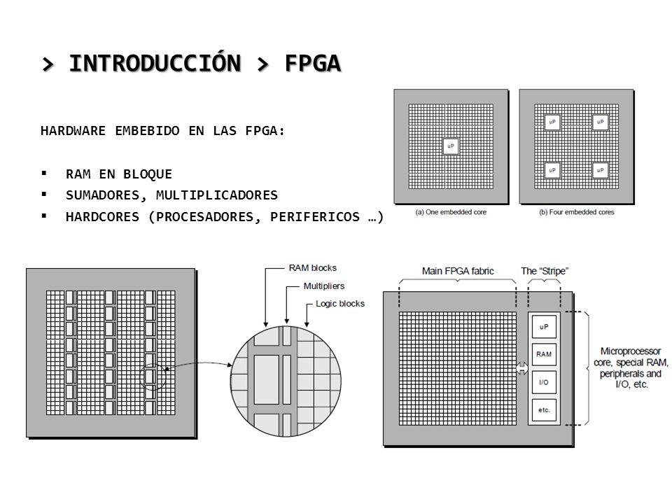 > INTRODUCCIÓN > FPGA HARDWARE EMBEBIDO EN LAS FPGA: RAM EN BLOQUE SUMADORES, MULTIPLICADORES HARDCORES (PROCESADORES, PERIFERICOS …)