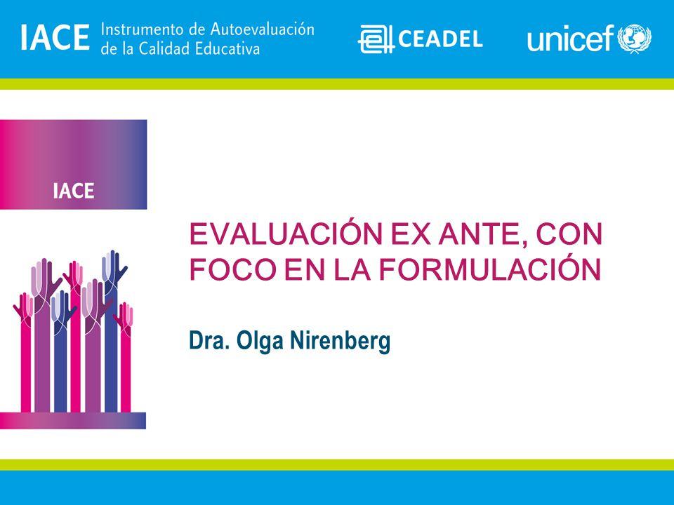 EVALUACIÓN EX ANTE, CON FOCO EN LA FORMULACIÓN Dra. Olga Nirenberg