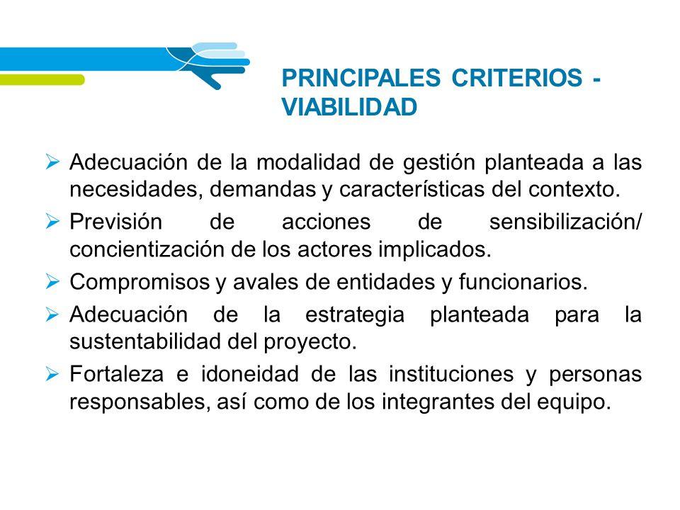 PRINCIPALES CRITERIOS - VIABILIDAD Adecuación de la modalidad de gestión planteada a las necesidades, demandas y características del contexto. Previsi