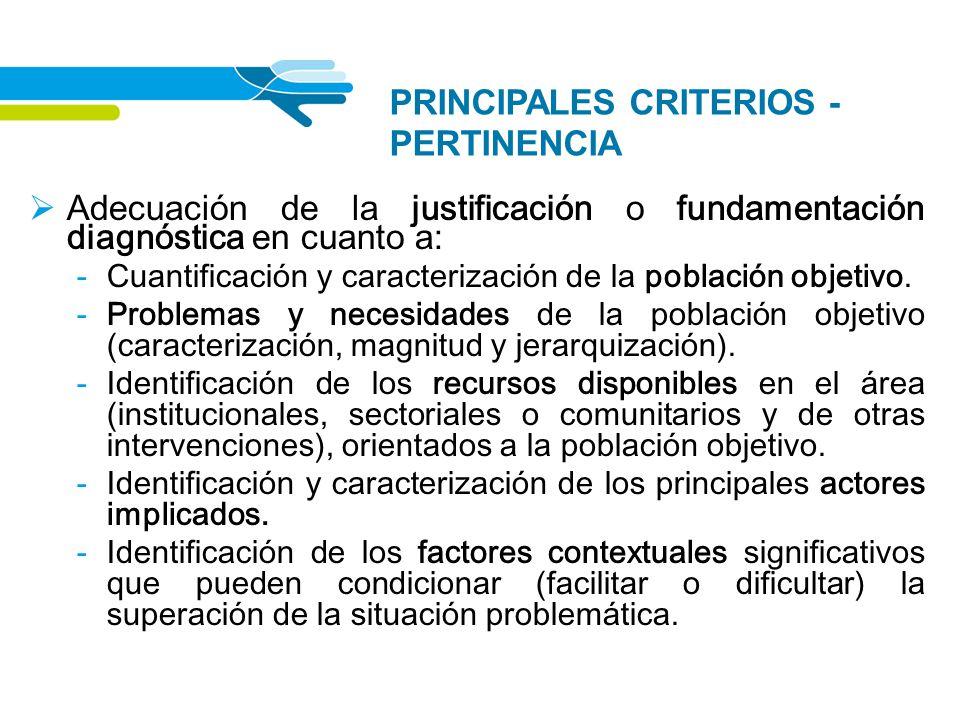 PRINCIPALES CRITERIOS - PERTINENCIA Adecuación de la justificación o fundamentación diagnóstica en cuanto a: - Cuantificación y caracterización de la