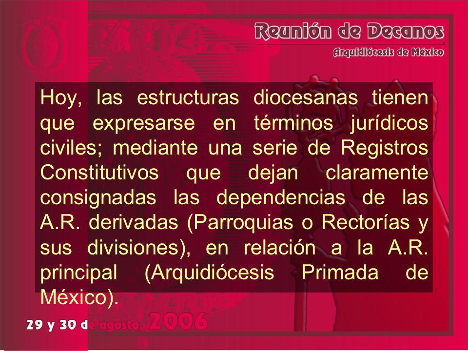 Hoy, las estructuras diocesanas tienen que expresarse en términos jurídicos civiles; mediante una serie de Registros Constitutivos que dejan clarament