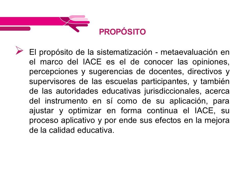 PROPÓSITO El propósito de la sistematización - metaevaluación en el marco del IACE es el de conocer las opiniones, percepciones y sugerencias de docen