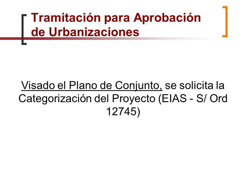 Visado el Plano de Conjunto, se solicita la Categorización del Proyecto (EIAS - S/ Ord 12745) Tramitación para Aprobación de Urbanizaciones