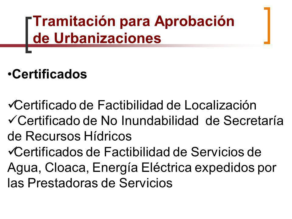 Certificados Certificado de Factibilidad de Localización Certificado de No Inundabilidad de Secretaría de Recursos Hídricos Certificados de Factibilid