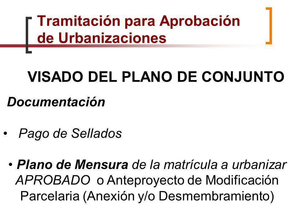 VISADO DEL PLANO DE CONJUNTO Documentación Pago de Sellados Plano de Mensura de la matrícula a urbanizar APROBADO o Anteproyecto de Modificación Parce