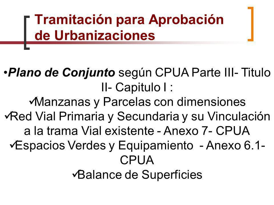 Plano de Conjunto según CPUA Parte III- Titulo II- Capitulo I : Manzanas y Parcelas con dimensiones Red Vial Primaria y Secundaria y su Vinculación a