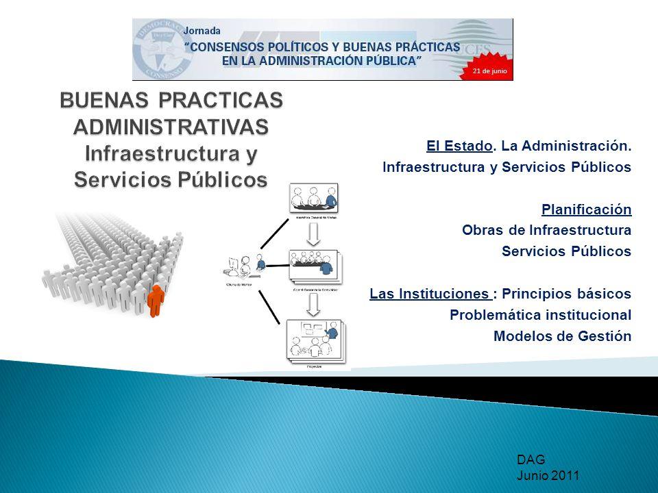 El Estado. La Administración. Infraestructura y Servicios Públicos Planificación Obras de Infraestructura Servicios Públicos Las Instituciones : Princ