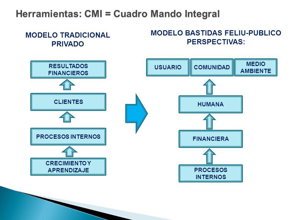 Herramientas: CMI = Cuadro Mando Integral RESULTADOS FINANCIEROS CRECIMIENTO Y APRENDIZAJE PROCESOS INTERNOS CLIENTES USUARIO MEDIO AMBIENTE COMUNIDAD