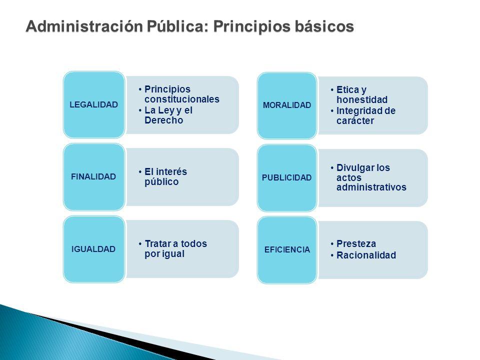 Administración Pública: Principios básicos Principios constitucionales La Ley y el Derecho LEGALIDAD El interés público FINALIDAD Tratar a todos por i