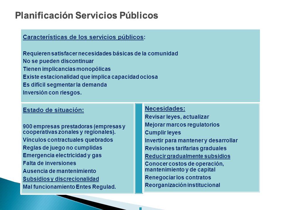 Planificación Servicios Públicos Características de los servicios públicos : Requieren satisfacer necesidades básicas de la comunidad No se pueden dis