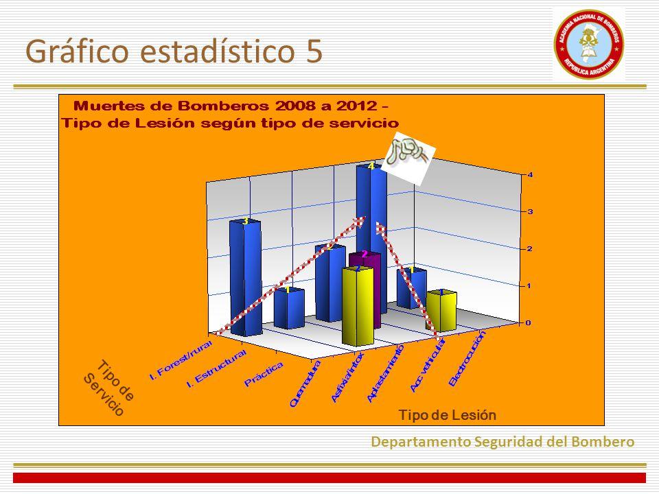 Gráfico estadístico 5 Departamento Seguridad del Bombero Tipo de Lesión Tipo de Servicio