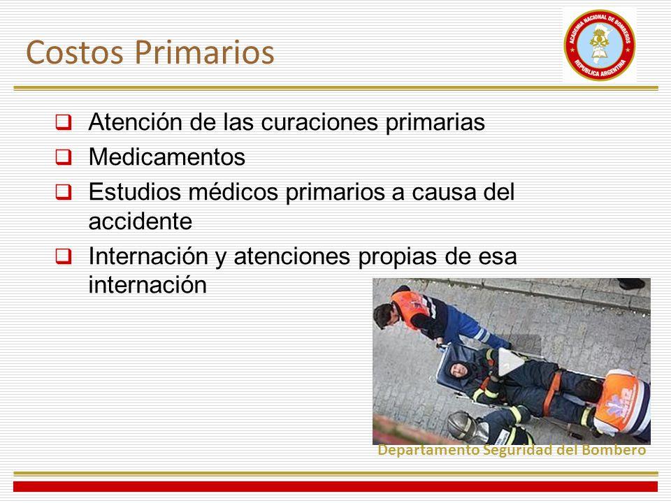 Atención de las curaciones primarias Medicamentos Estudios médicos primarios a causa del accidente Internación y atenciones propias de esa internación Costos Primarios Departamento Seguridad del Bombero