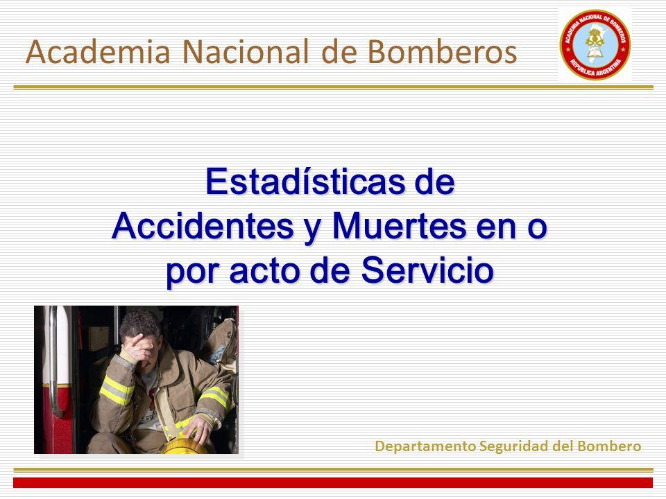 Estadísticas de Accidentes y Muertes en o por acto de Servicio Academia Nacional de Bomberos Departamento Seguridad del Bombero
