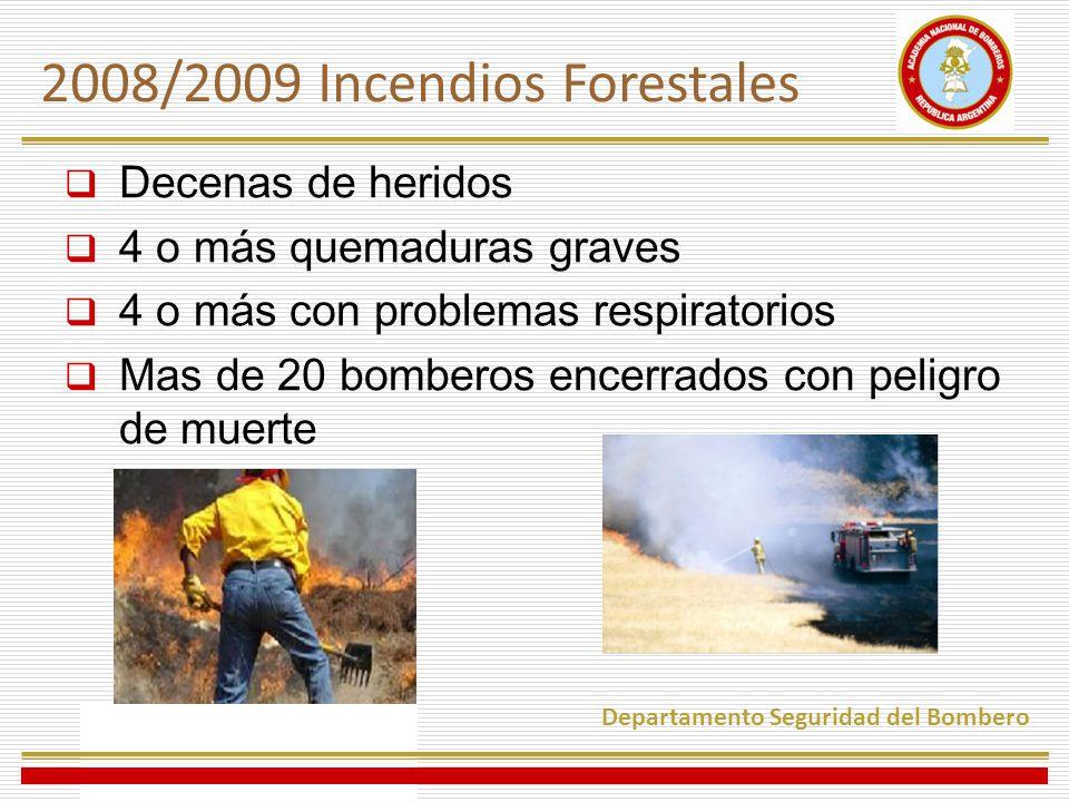 Decenas de heridos 4 o más quemaduras graves 4 o más con problemas respiratorios Mas de 20 bomberos encerrados con peligro de muerte 2008/2009 Incendios Forestales Departamento Seguridad del Bombero