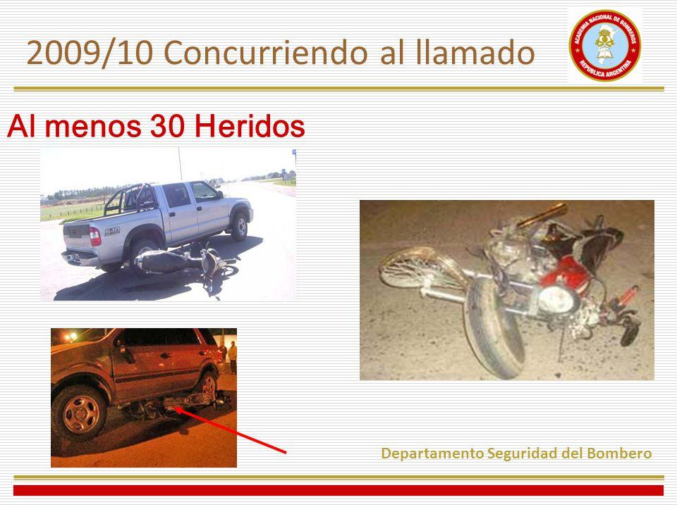 Al menos 30 Heridos 2009/10 Concurriendo al llamado Departamento Seguridad del Bombero