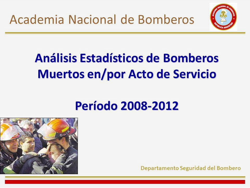 Análisis Estadísticos de Bomberos Muertos en/por Acto de Servicio Período 2008-2012 Academia Nacional de Bomberos Departamento Seguridad del Bombero