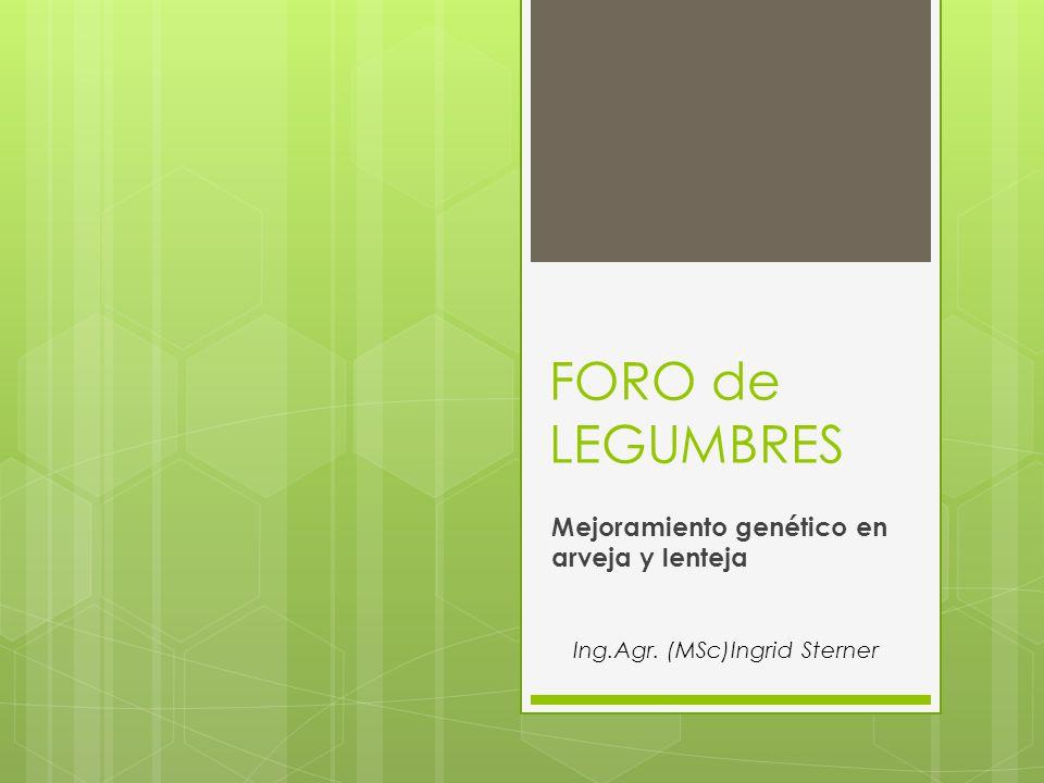 FORO de LEGUMBRES Mejoramiento genético en arveja y lenteja Ing.Agr. (MSc)Ingrid Sterner