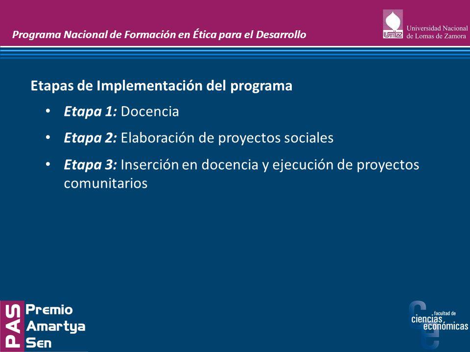 Programa Nacional de Formación en Ética para el Desarrollo Etapa 1: Docencia Etapa 2: Elaboración de proyectos sociales Etapa 3: Inserción en docencia