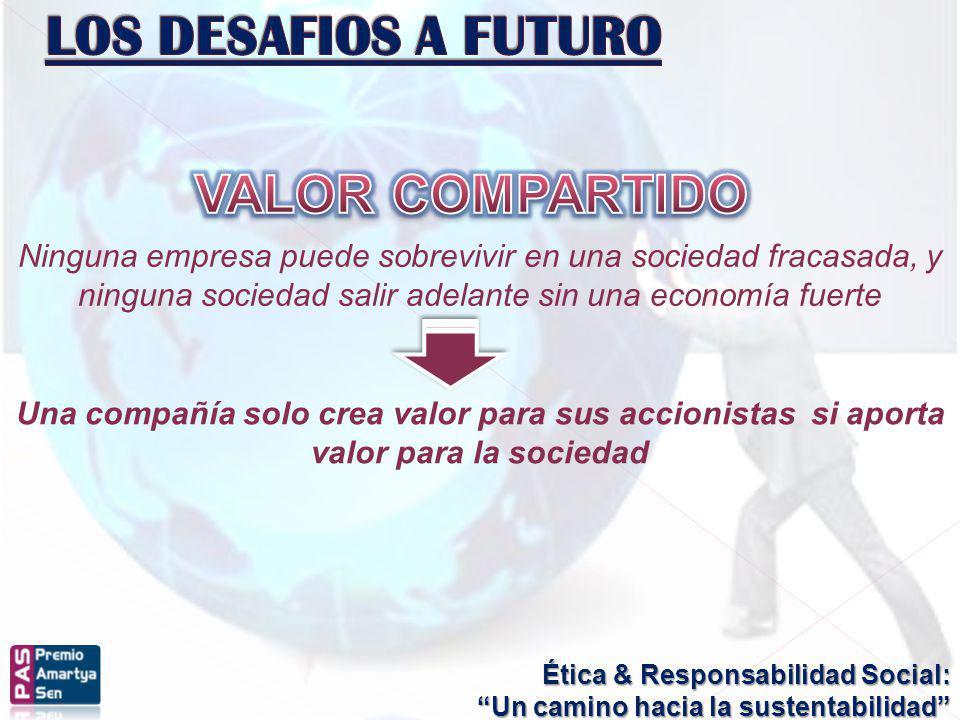 Ética & Responsabilidad Social: Un camino hacia la sustentabilidad Una compañía solo crea valor para sus accionistas si aporta valor para la sociedad