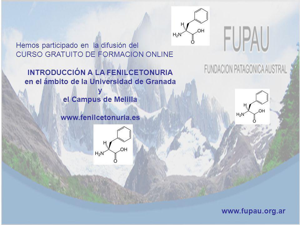 Hemos participado en la difusión del CURSO GRATUITO DE FORMACION ONLINE INTRODUCCIÓN A LA FENILCETONURIA en el ámbito de la Universidad de Granada y e