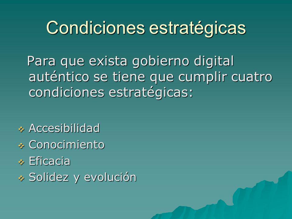 Condiciones estratégicas Para que exista gobierno digital auténtico se tiene que cumplir cuatro condiciones estratégicas: Para que exista gobierno digital auténtico se tiene que cumplir cuatro condiciones estratégicas: Accesibilidad Accesibilidad Conocimiento Conocimiento Eficacia Eficacia Solidez y evolución Solidez y evolución