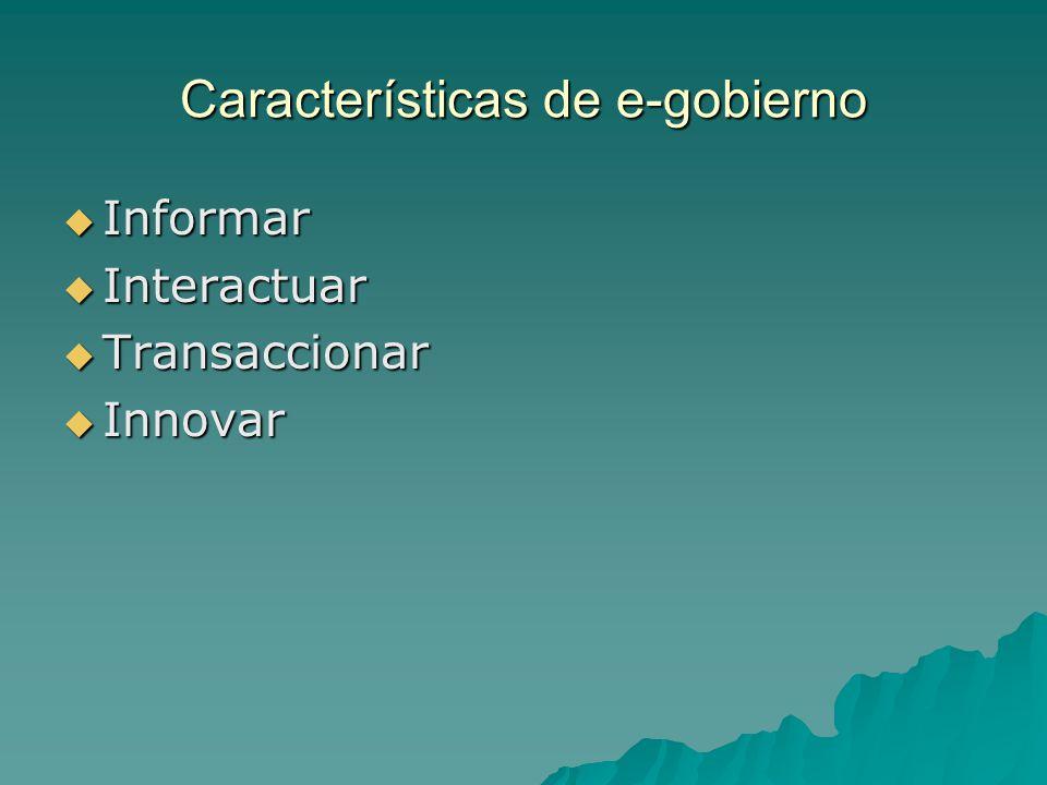 Características de e-gobierno Informar Informar Interactuar Interactuar Transaccionar Transaccionar Innovar Innovar