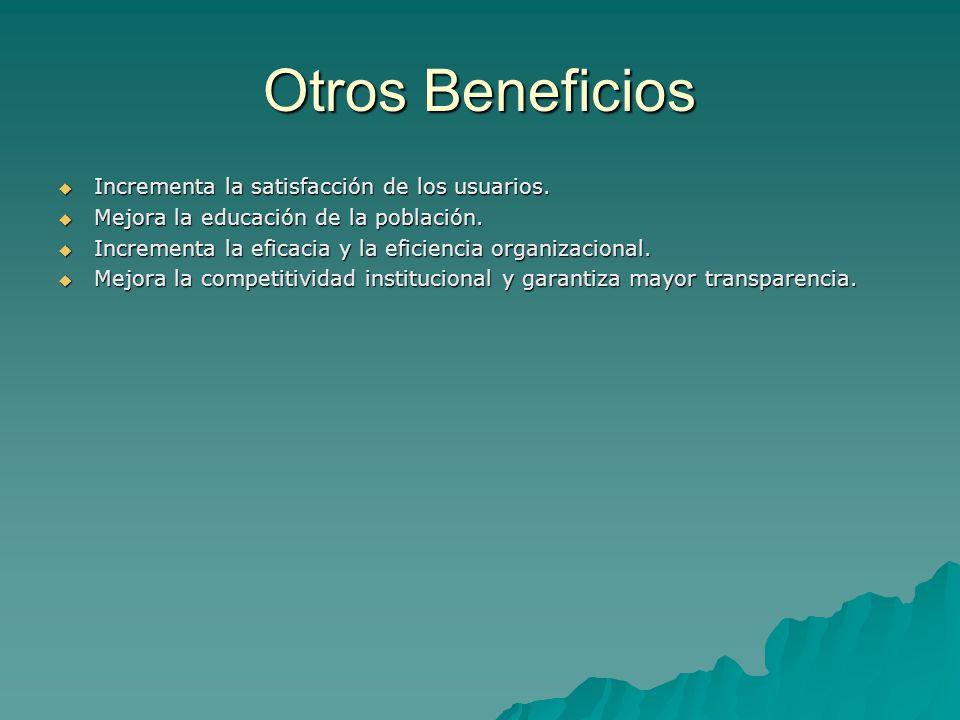Otros Beneficios Incrementa la satisfacción de los usuarios.