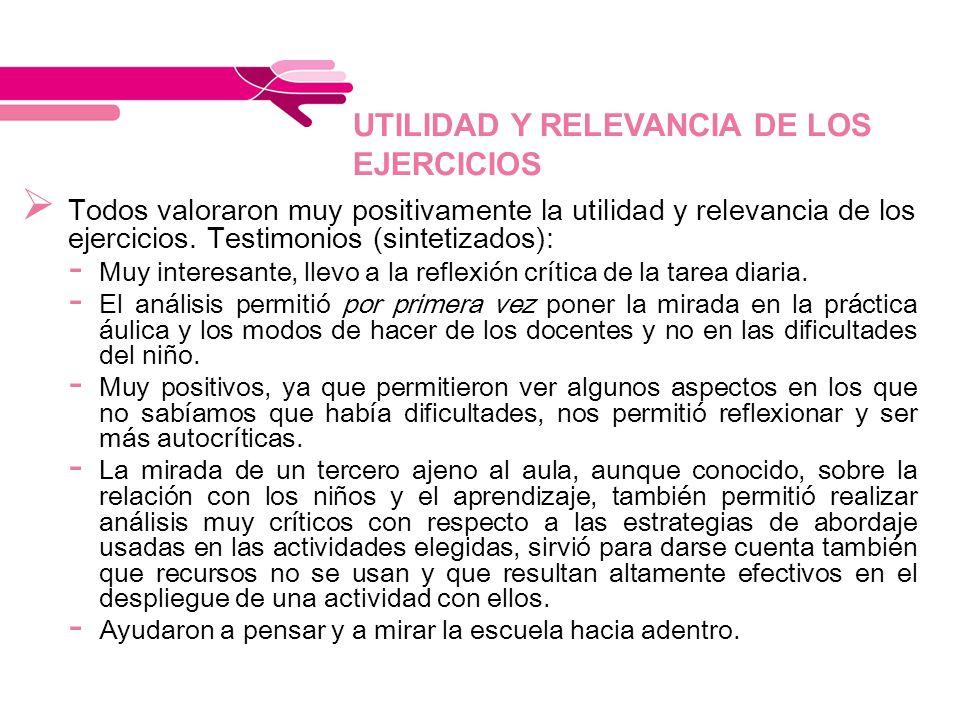 UTILIDAD Y RELEVANCIA DE LOS EJERCICIOS Todos valoraron muy positivamente la utilidad y relevancia de los ejercicios. Testimonios (sintetizados): - Mu