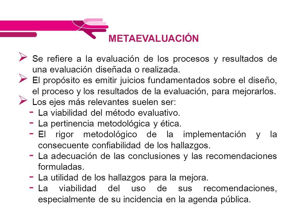 METAEVALUACIÓN Se refiere a la evaluación de los procesos y resultados de una evaluación diseñada o realizada. El propósito es emitir juicios fundamen