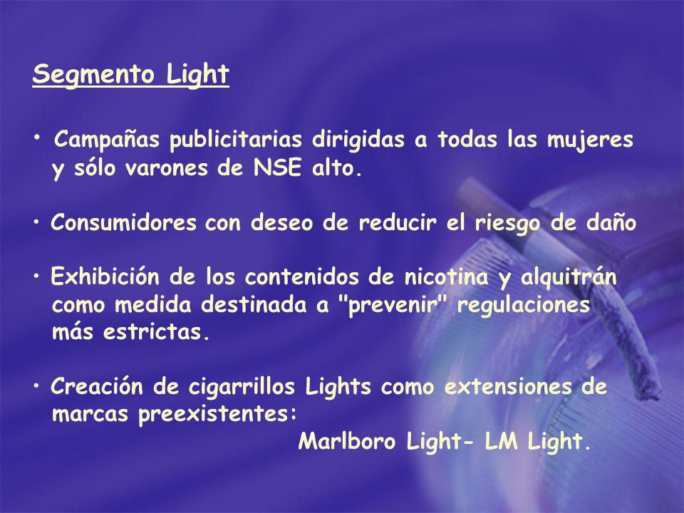 Segmento Light Campañas publicitarias dirigidas a todas las mujeres y sólo varones de NSE alto. Consumidores con deseo de reducir el riesgo de daño Ex