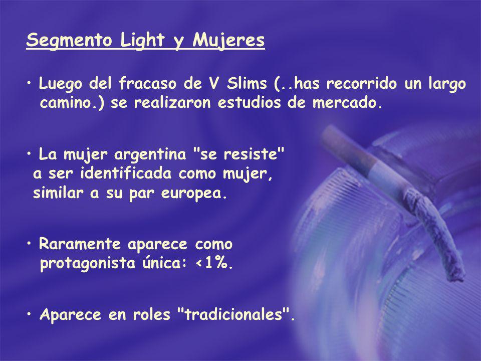 Segmento Light y Mujeres Luego del fracaso de V Slims (..has recorrido un largo camino.) se realizaron estudios de mercado. La mujer argentina