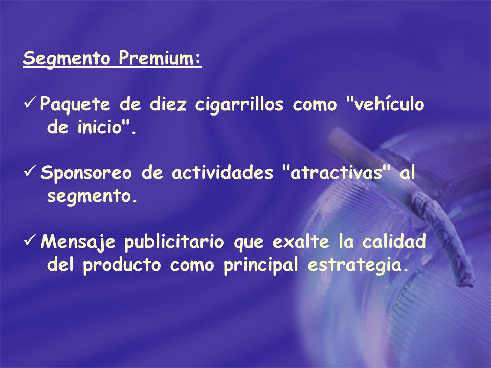 Segmento Premium: Paquete de diez cigarrillos como