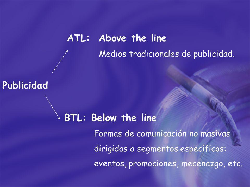 ATL: Above the line Medios tradicionales de publicidad. Publicidad BTL: Below the line Formas de comunicación no masivas dirigidas a segmentos específ