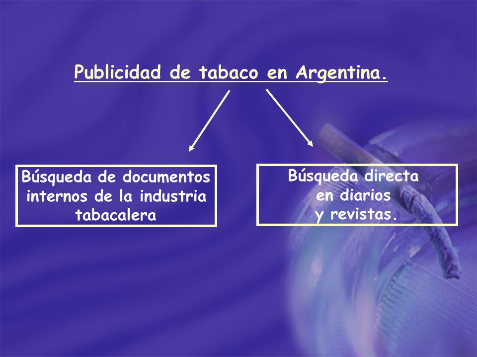 Publicidad de tabaco en Argentina. Búsqueda directa en diarios y revistas. Búsqueda de documentos internos de la industria tabacalera