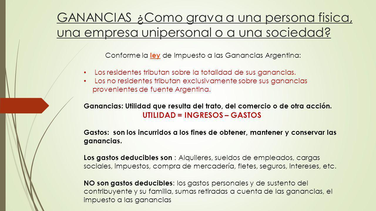 Conforme la ley de Impuesto a las Ganancias Argentina: ley Los residentes tributan sobre la totalidad de sus ganancias. Los no residentes tributan exc