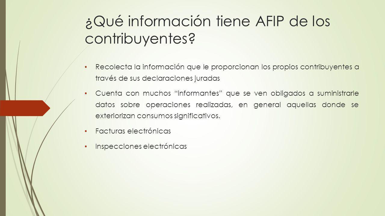 ¿Qué información tiene AFIP de los contribuyentes? Recolecta la información que le proporcionan los propios contribuyentes a través de sus declaracion