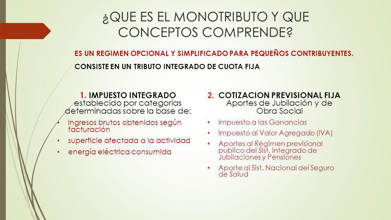 ¿QUE ES EL MONOTRIBUTO Y QUE CONCEPTOS COMPRENDE.1.