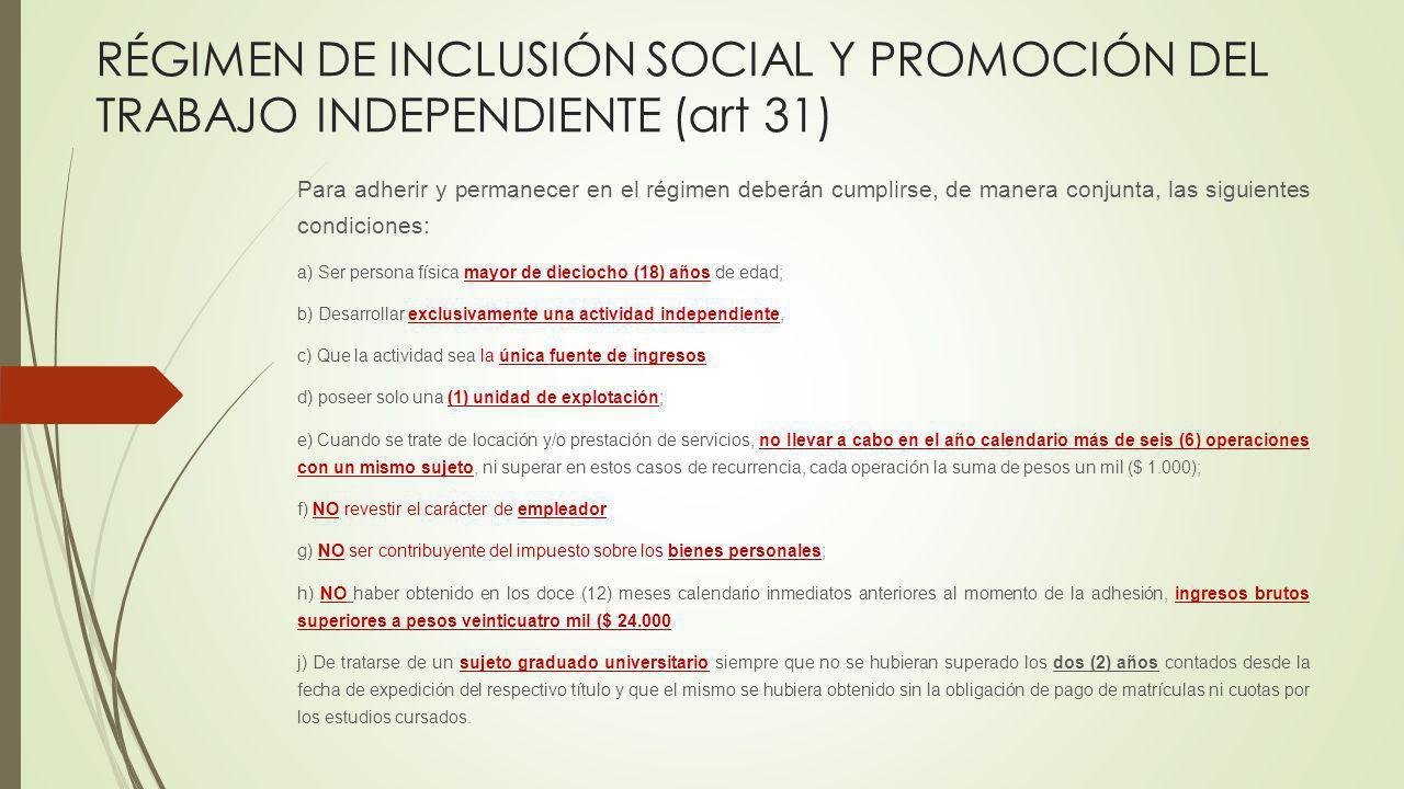 RÉGIMEN DE INCLUSIÓN SOCIAL Y PROMOCIÓN DEL TRABAJO INDEPENDIENTE (art 31) Para adherir y permanecer en el régimen deberán cumplirse, de manera conjun
