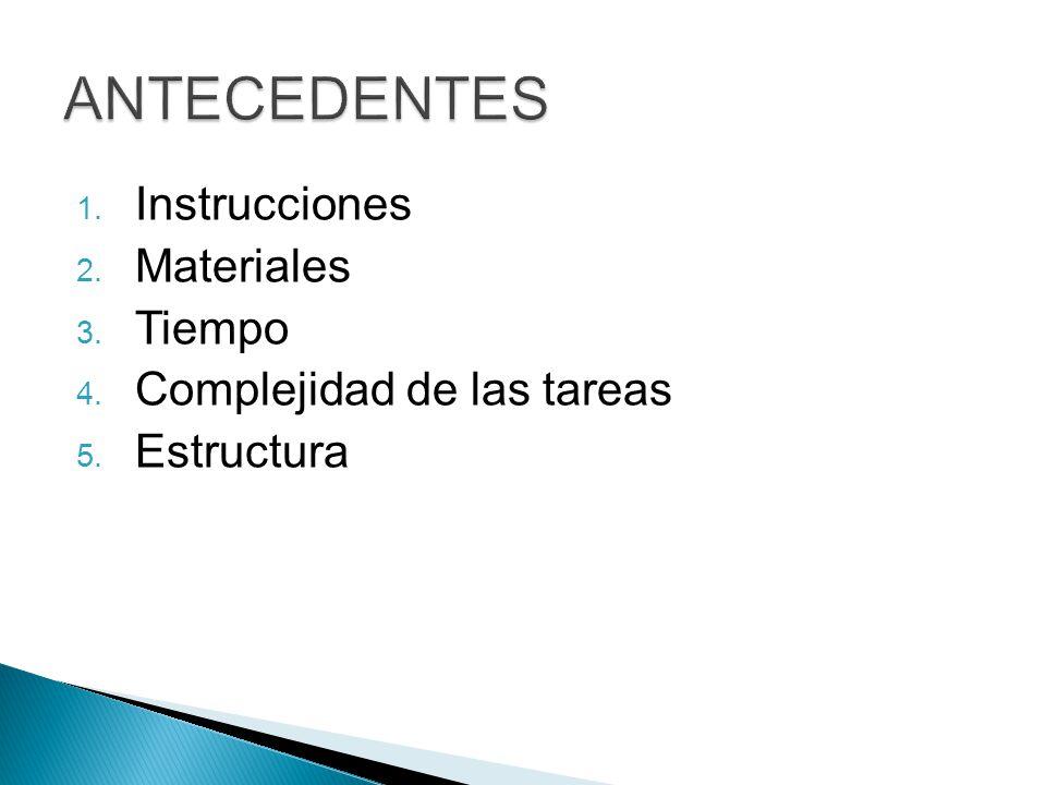 1. Instrucciones 2. Materiales 3. Tiempo 4. Complejidad de las tareas 5. Estructura