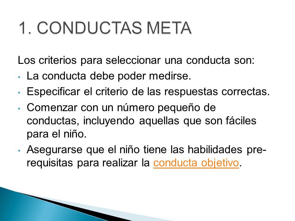 Los criterios para seleccionar una conducta son: La conducta debe poder medirse. Especificar el criterio de las respuestas correctas. Comenzar con un