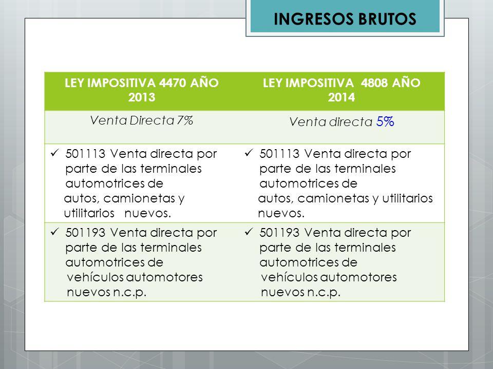 LEY IMPOSITIVA 4470 AÑO 2013 LEY IMPOSITIVA 4808 AÑO 2014 Venta Directa 7% Venta directa 5% 501113 Venta directa por parte de las terminales automotri