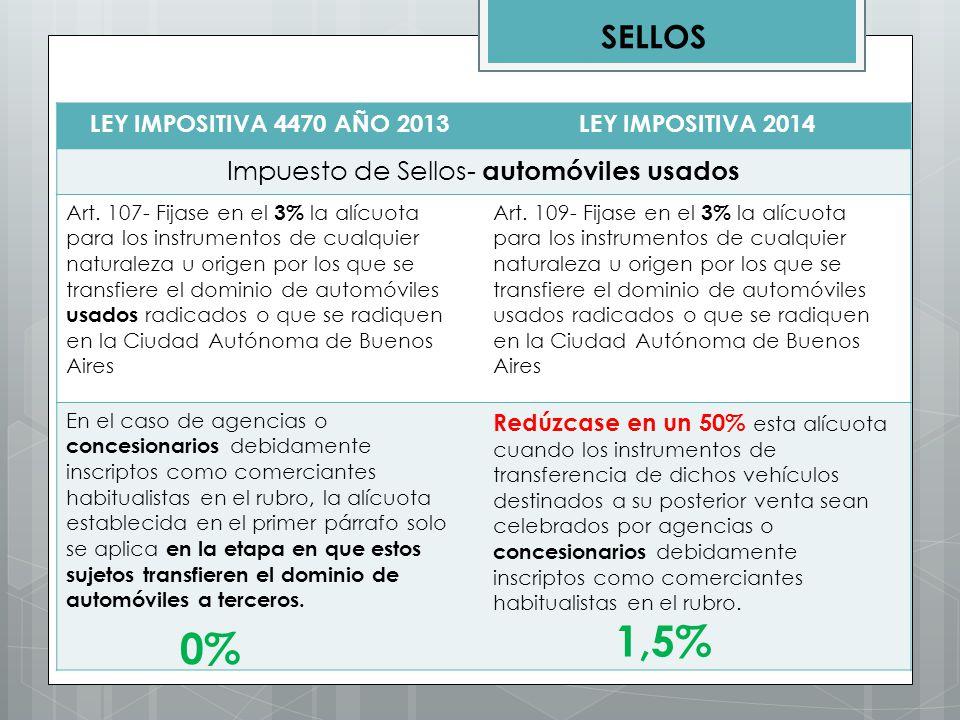 LEY IMPOSITIVA 4470 AÑO 2013LEY IMPOSITIVA 2014 Impuesto de Sellos- automóviles usados Art. 107- Fijase en el 3% la alícuota para los instrumentos de